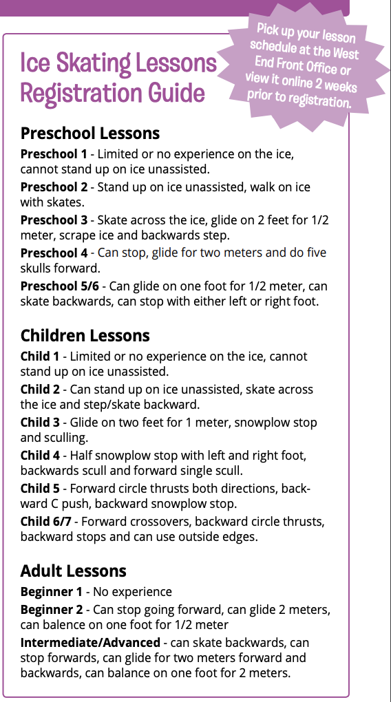 west end ice skating lessons registration guide winter 2019